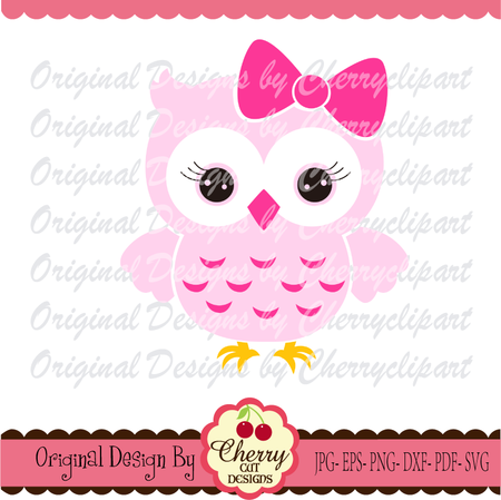 Owl SVG, Owl with bow svg, Animal Silhouette and Cricut Cut Design, Owl  clip art,T.
