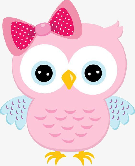 Painted Pink Cartoon Owl With Bow PNG, Clipart, Animal, Bow.