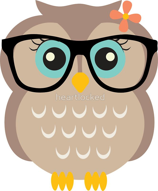 Cute Hipster Girl Owl\' Sticker by heartlocked.