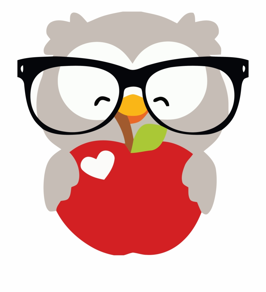 Glasses Happy Owl And Apple Clipart Png.