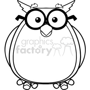 Royalty Free RF Clipart Illustration Black And White Wise Owl Teacher  Cartoon Character With Glasses clipart. Royalty.