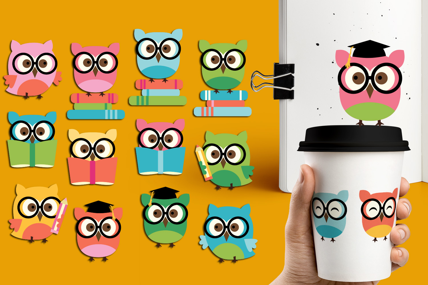 Smart owls clipart Back to school owl glasses books.