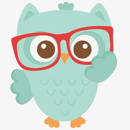 Owl, Owl Clipart, Hand Painted Owl, Red Frame Glasses PNG.