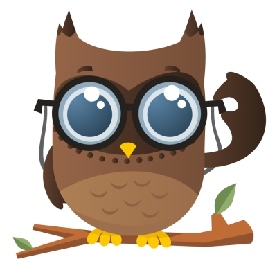 Owl with glasses clip art.