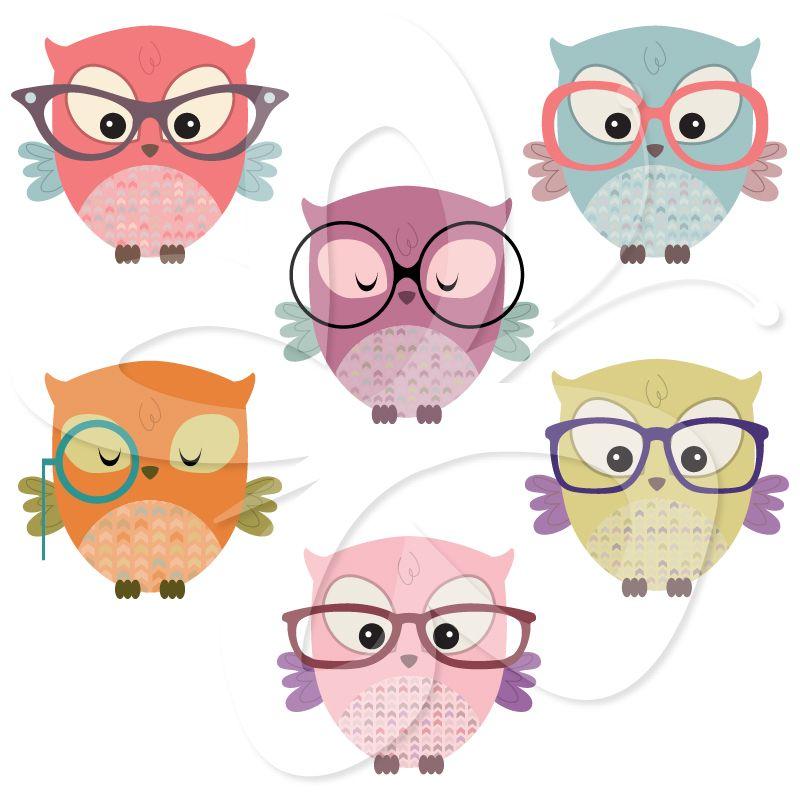 Owls wearing Glasses Clip Art $4.