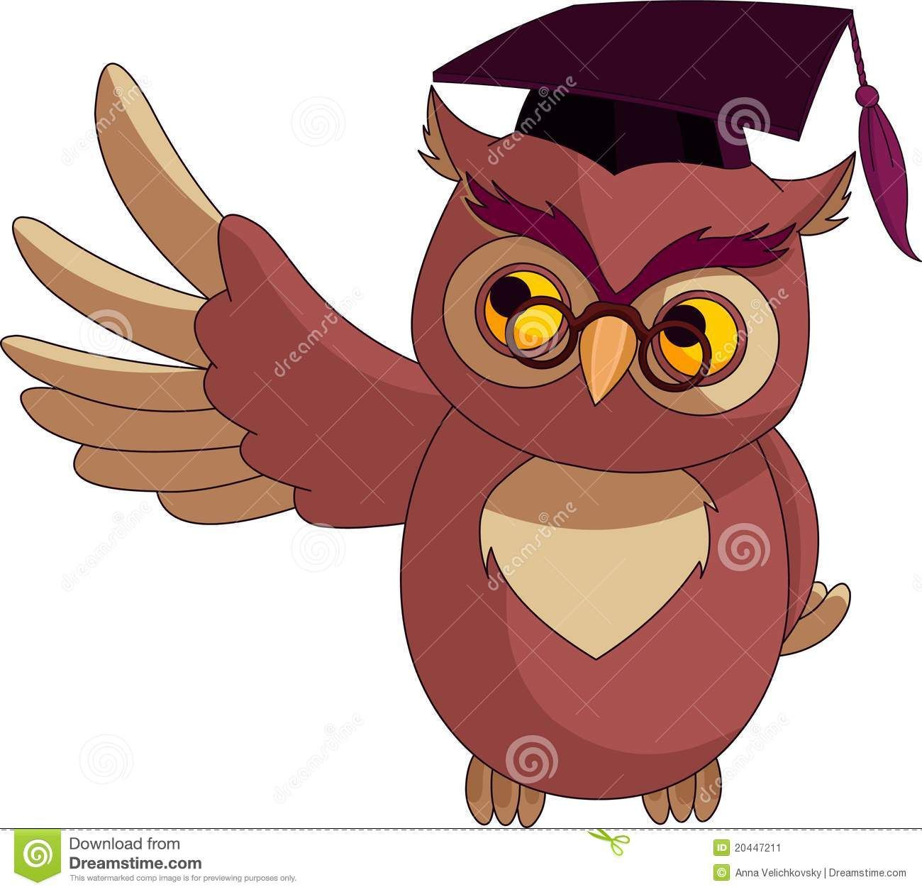 Cartoon Wise Owl With Graduation Cap Stock Image.