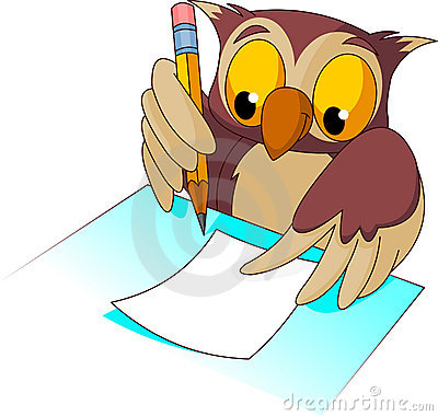 Owl Writing Clip Art.
