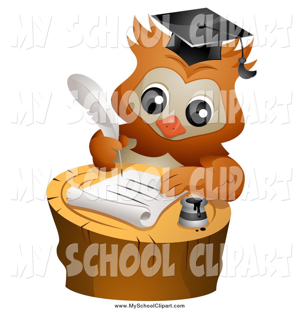 Clip Art of a Smart Professor Owl Writing a Letter on a Tree Stump.