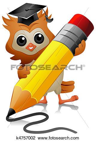 Clip Art of Owl Writing k4757002.