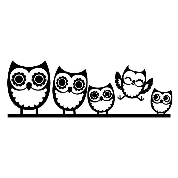 Owl Family Black And White Clipart.