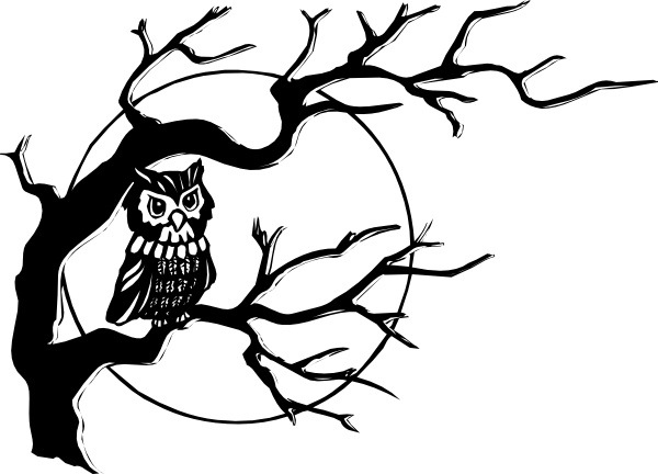 Owl On Tree Branch clip art Free vector in Open office drawing svg.