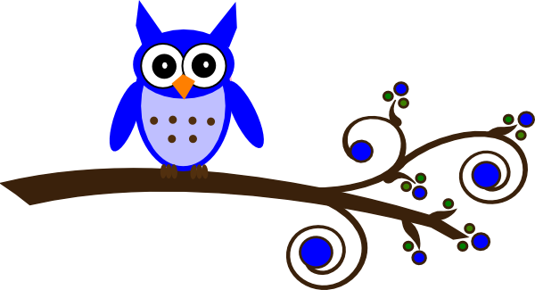 Owls On A Tree Branch Clipart.