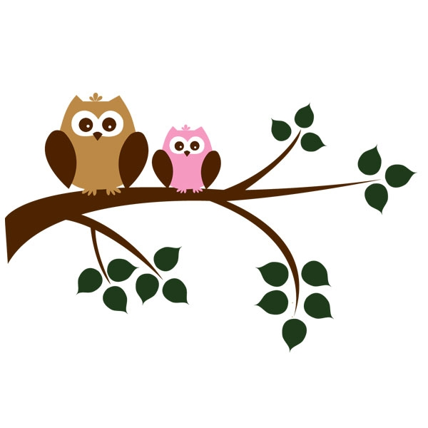 Owls In A Tree Clipart.