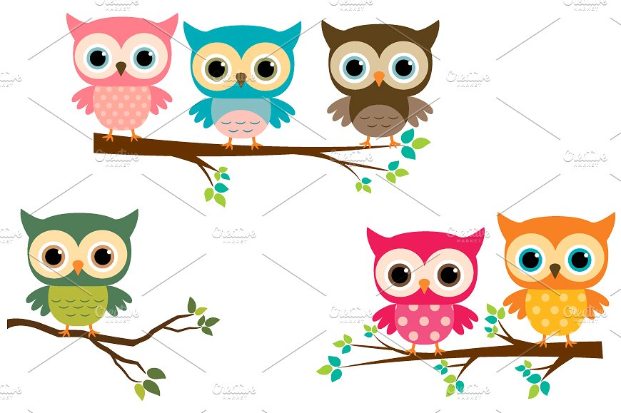 Cute Owl On Branch Clipart.
