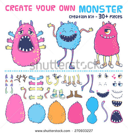 Monster Creation Kit Create Your Own Stock Vector 270933227.