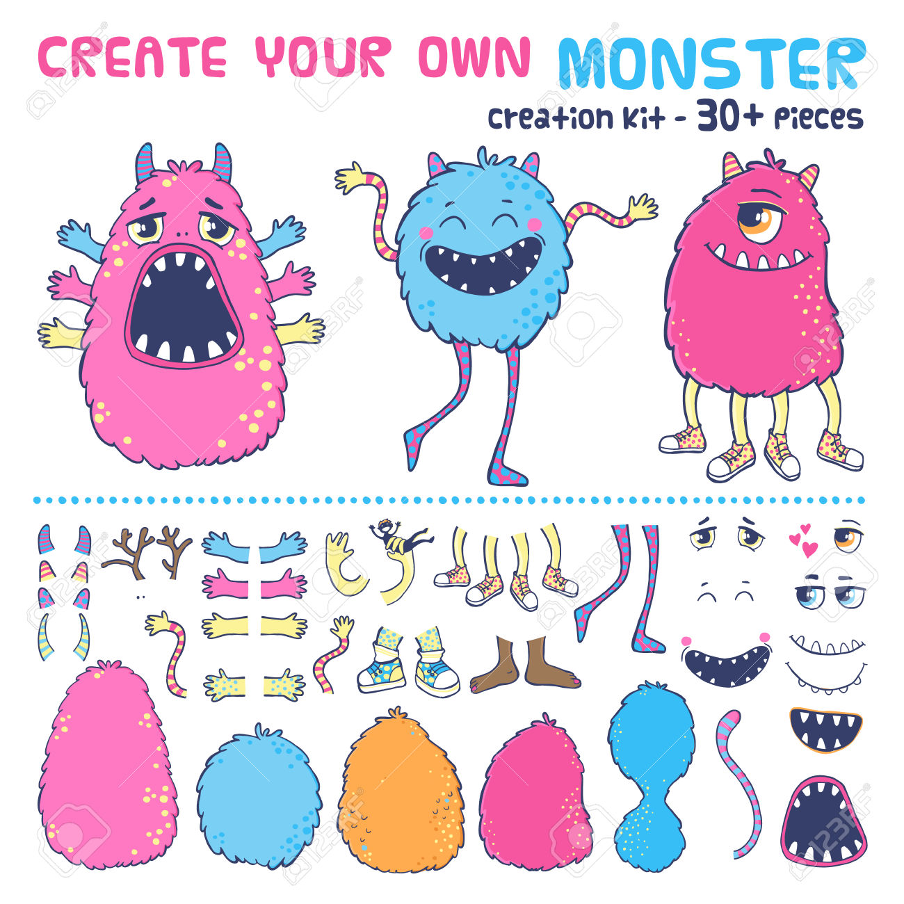 Monster Creation Kit. Create Your Own Monster. Royalty Free.