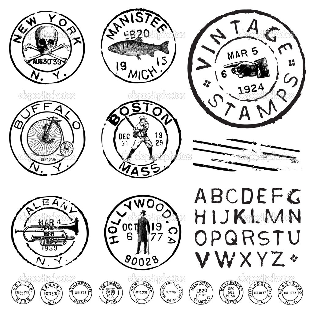 Vector Clipart Vintage Stamp and Label Set — Stock Vector.