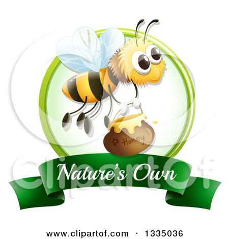 Clipart of a Bee with Honey on a Natures Own Label.