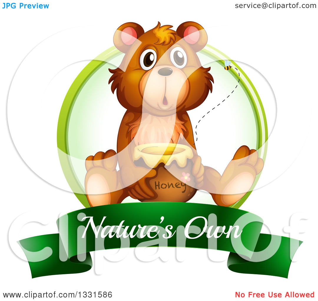 Clipart of a Surprised Brown Bear Sitting with a Honey Jar on a.