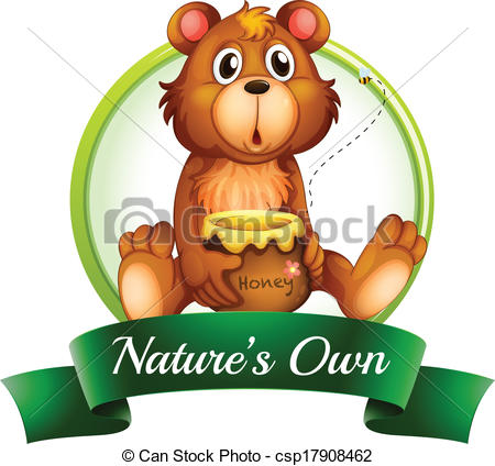 Clip Art Vector of A nature's own label with a bear.