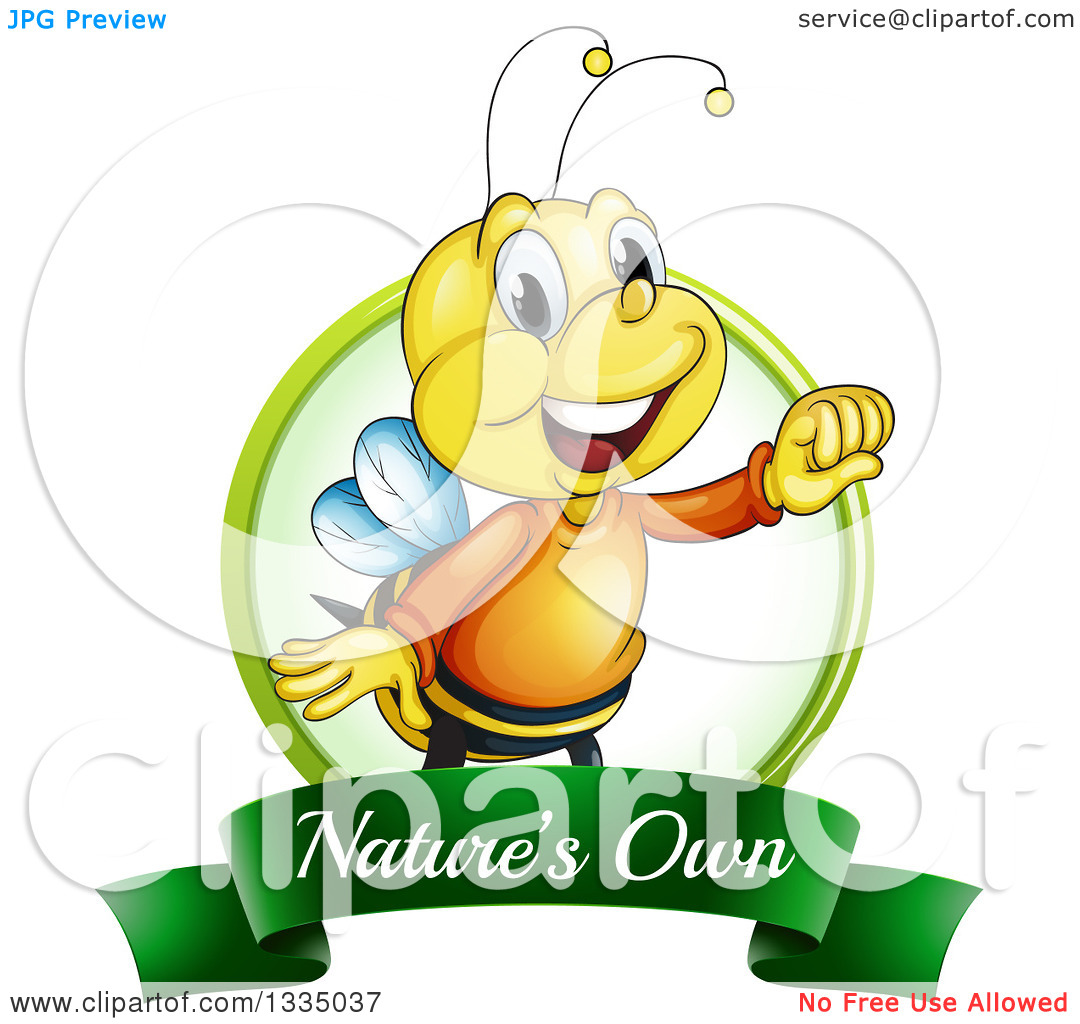 Clipart of a Bee Cheering on a Natures Own Label.