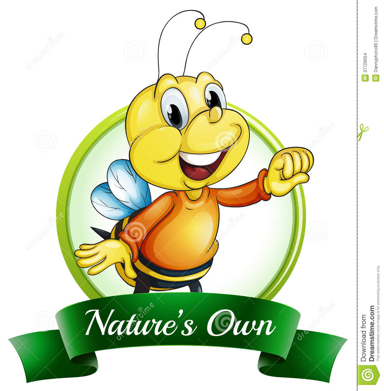 A Nature's Own Label With A Smiling Bee Stock Images.