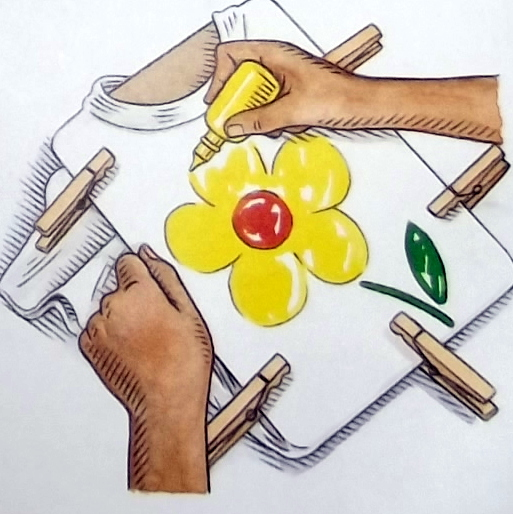 Kids painting with yellow paint clipart.