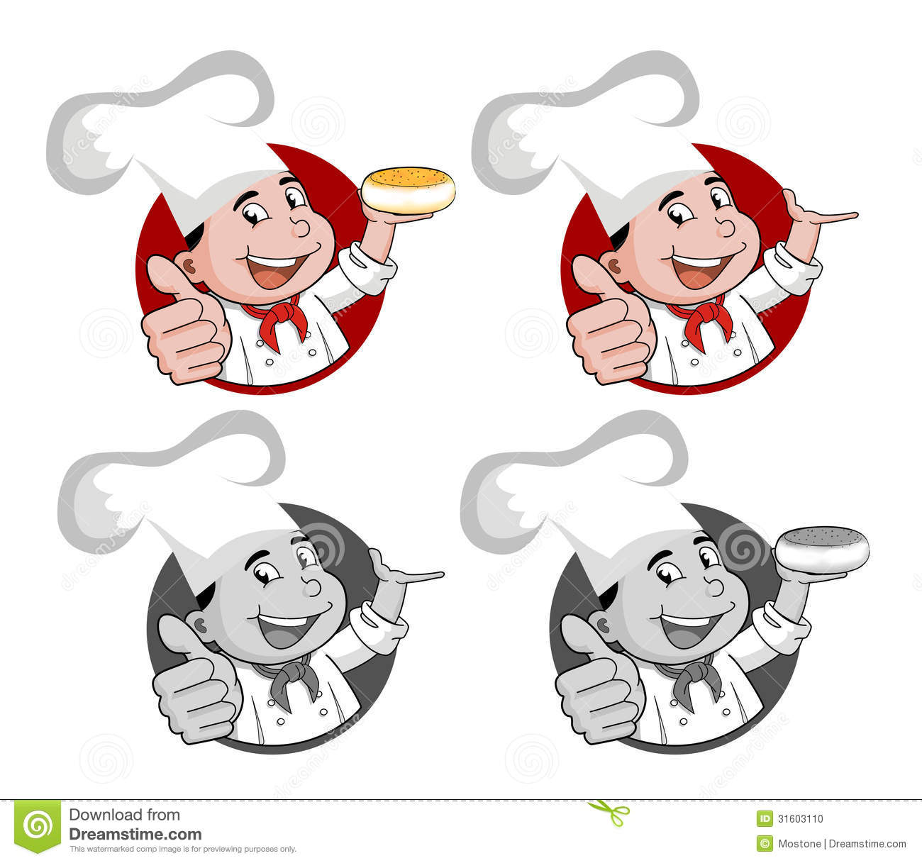 Illustration Of A Happy Smiling Cartoon Chef Stock Photo.