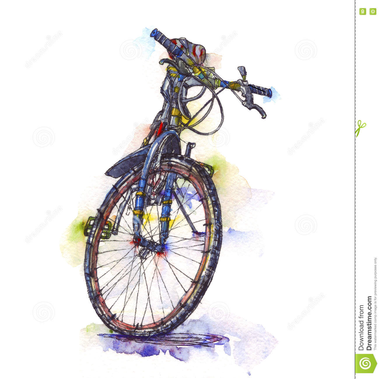 Watercolor Illustration Of A Bicycle Stock Illustration.