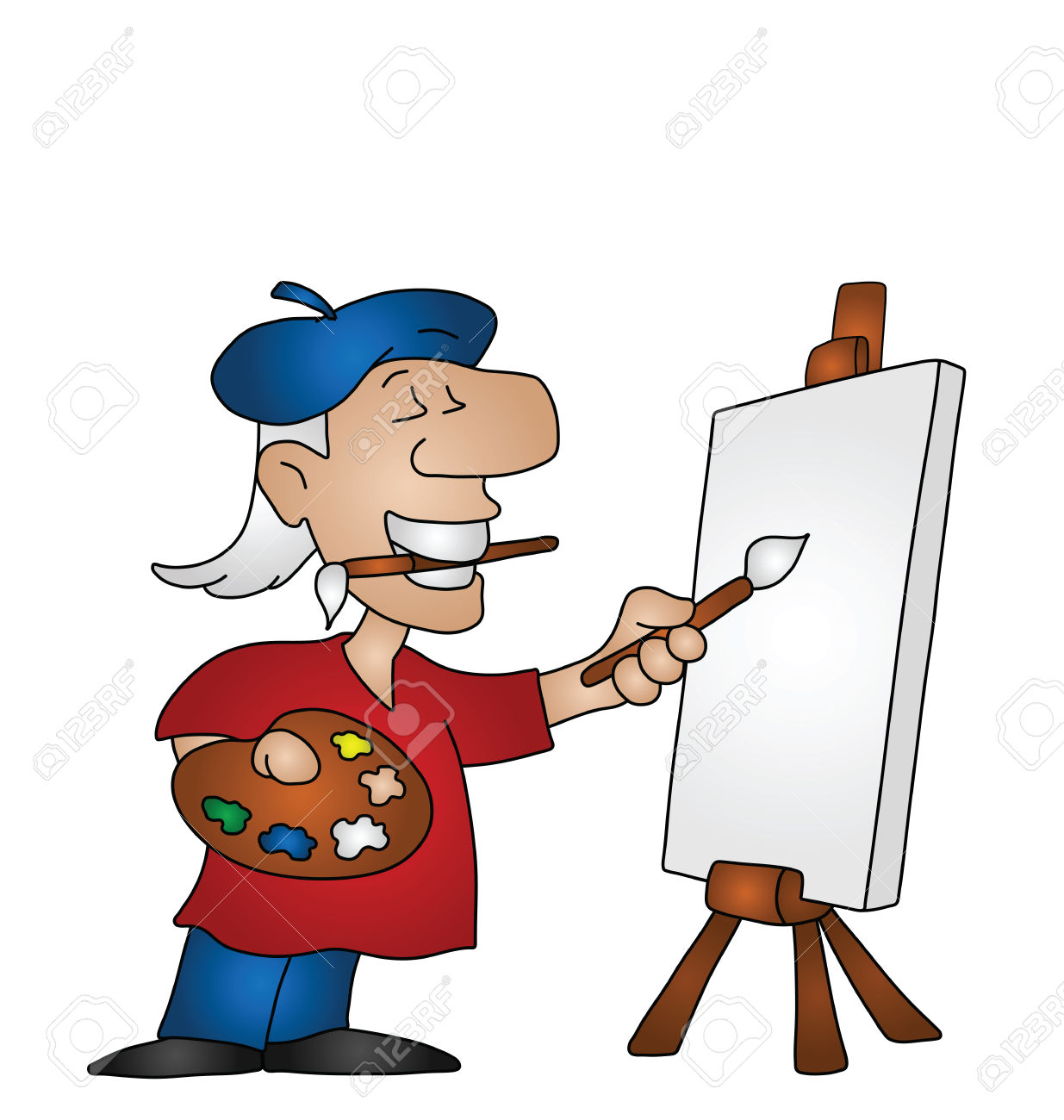 Cartoon Artist With Copy Space On Canvas For Own Text Or Image.