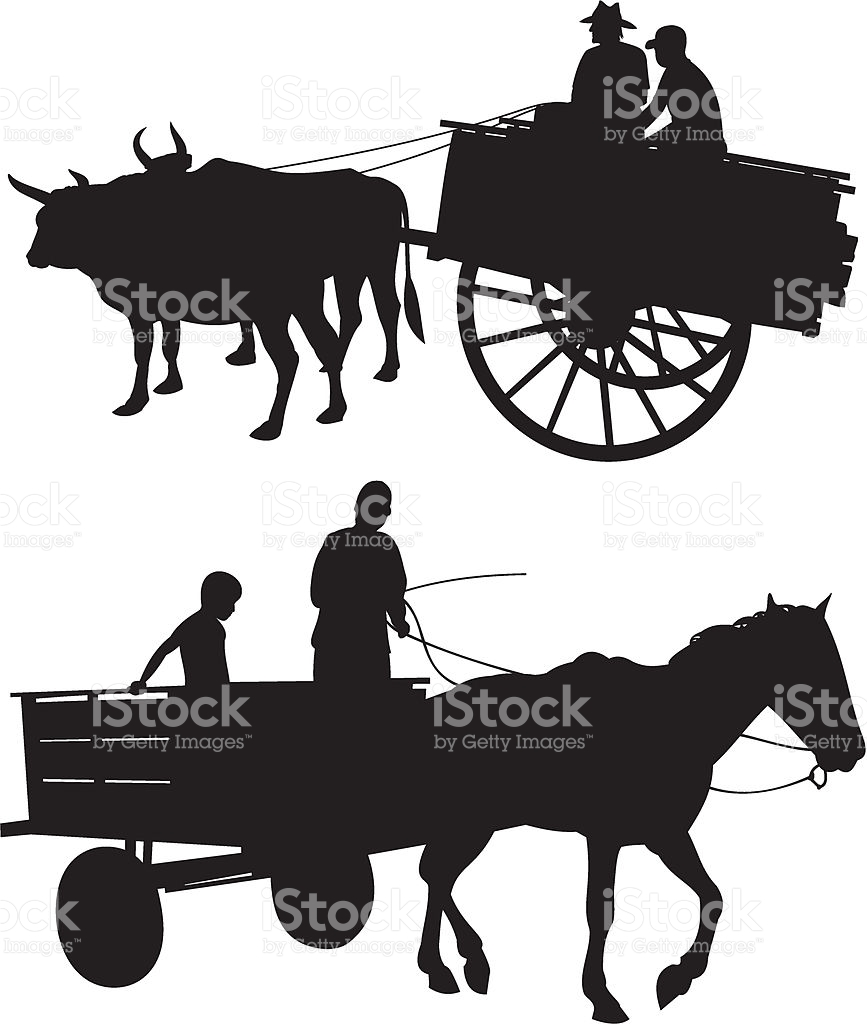 Horse Amp Ox With Cart stock vector art 165796657.