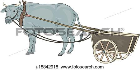 Clip Art of Oxcart u18842918.