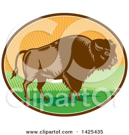 Clipart of an Outlined Bison.