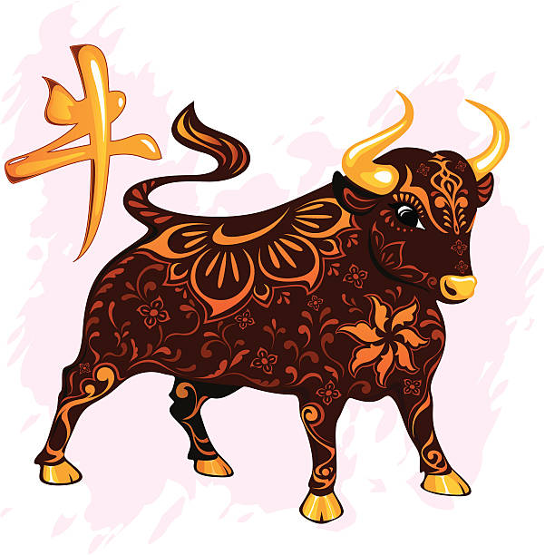Bull Ox Cartoon Chinese Zodiac Sign Clip Art, Vector Images.