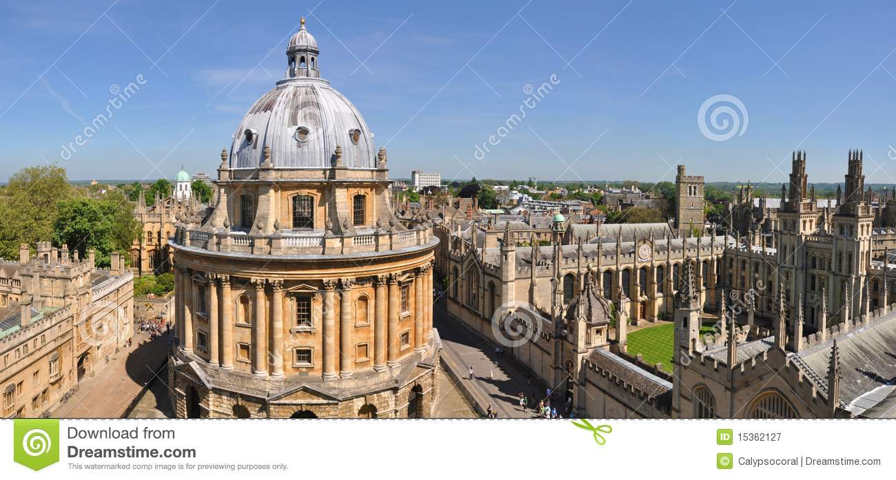 Oxford University Panorama Royalty Free Stock Photography.