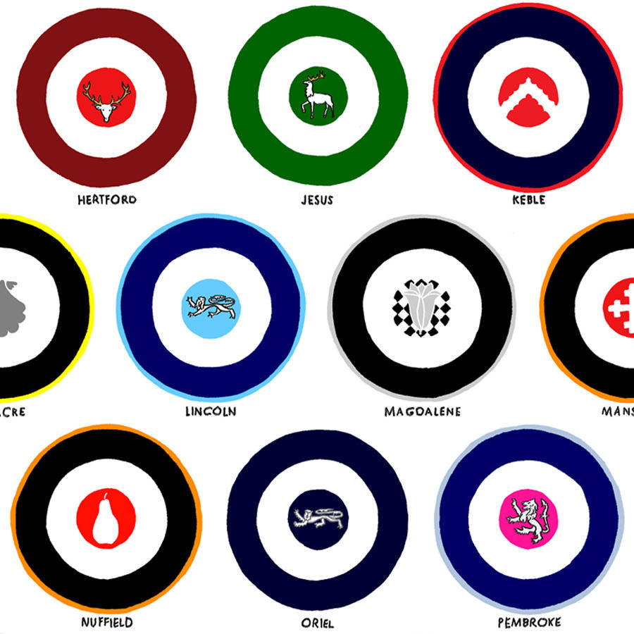 oxford college roundels graphic print by oxford prints.