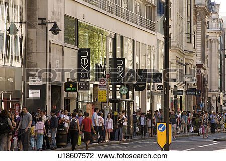 Stock Photo of England, London, Oxford Street. Crowds of shoppers.