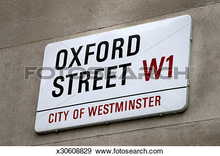 Stock Photograph of England, London, Oxford Street sign on wall.