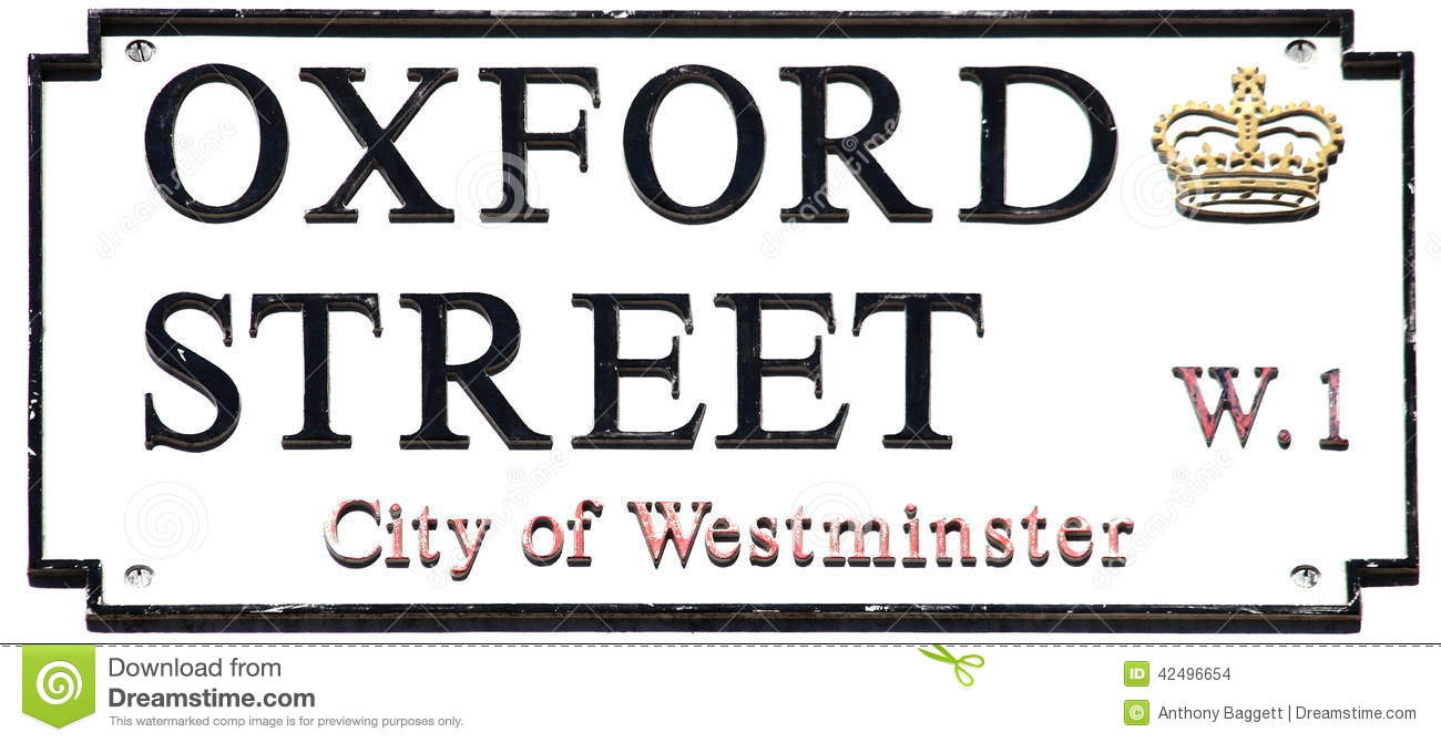 Oxford Street Sign Stock Photo.