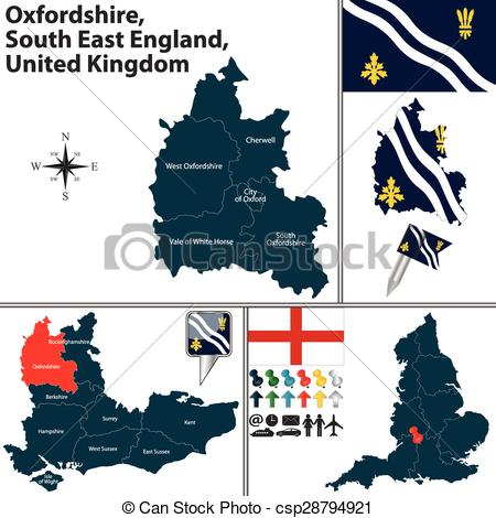 Vector Illustration of Oxfordshire, South East England, UK.