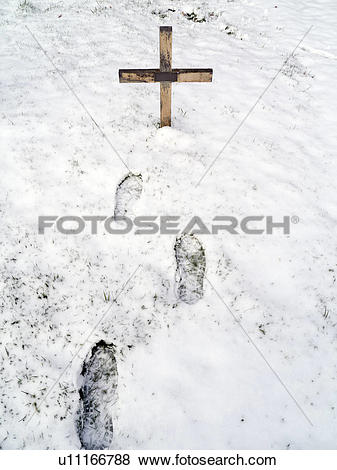 Pictures of England, Oxfordshire, Radley. Footsteps and a cross in.