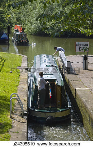 Stock Photography of England, Oxfordshire, Oxford, A houseboat.