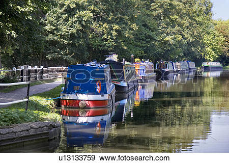 Stock Photograph of England, Oxfordshire, Oxford, Houseboats.
