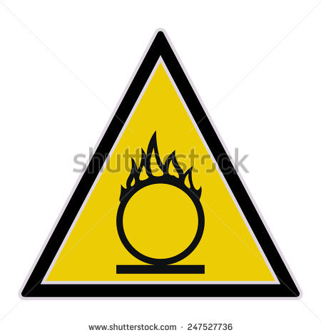 Oxidant Material Warning Sign Vector Illustration Stock Vector.