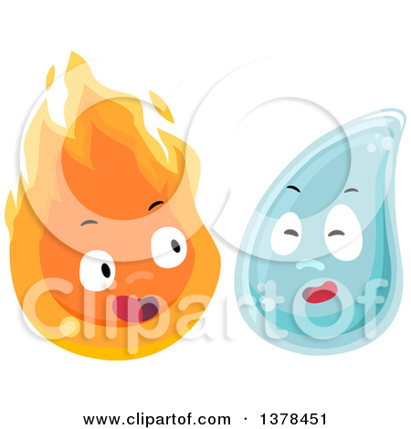 Clipart of Flame and Water Characters.