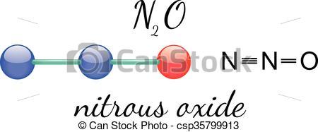 Vector Clip Art of N2O nitrous oxide molecule.