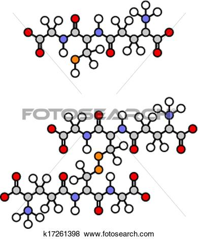 Clip Art of Glutathione antioxidant peptide, skeletal formula.