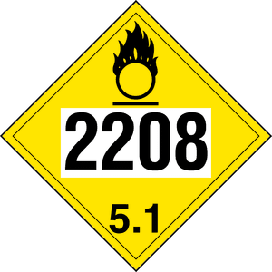 UN 2208 Oxidizer Placard for hazmat Calcium hypochlorite mixture.