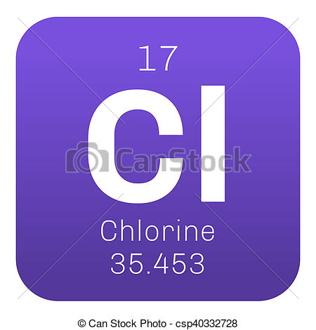 Clip Art of Chlorine chemical element. Strong oxidizing agent.