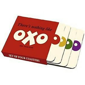 Details about OXO logo set of four cork backed drinks coasters (hb).